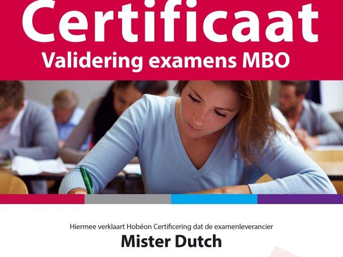 Certificaat validering examens MBO van Hobéon.
